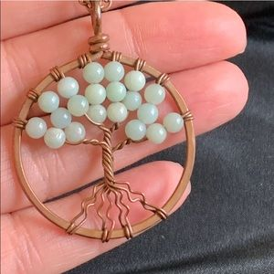 Vintage Jewelry - Vintage Copper Twisted Wire Tree Pendant Necklace